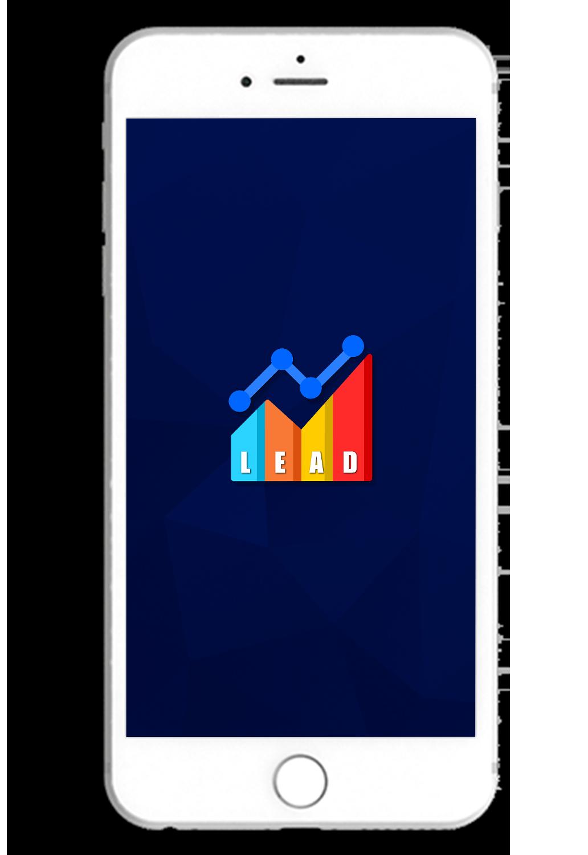 Smartphone com o logo do aplicativo Leads no centro e desenhos polígonos em um fundo azul